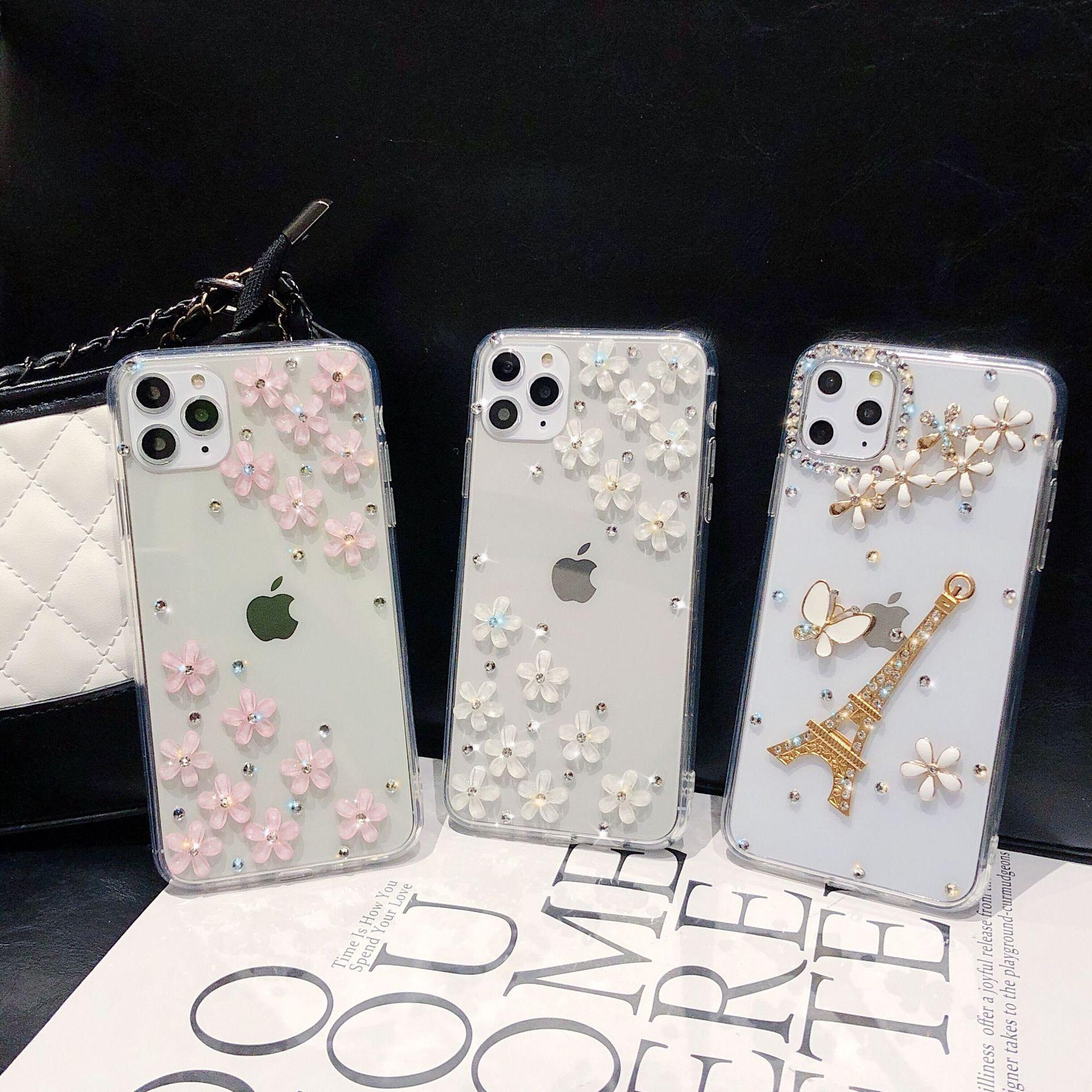 Funda de teléfono de torre de diamante para iPhone 11 Pro X XS Max XR 6 6s 7 8 Plus, funda con diamantes de imitación y flores