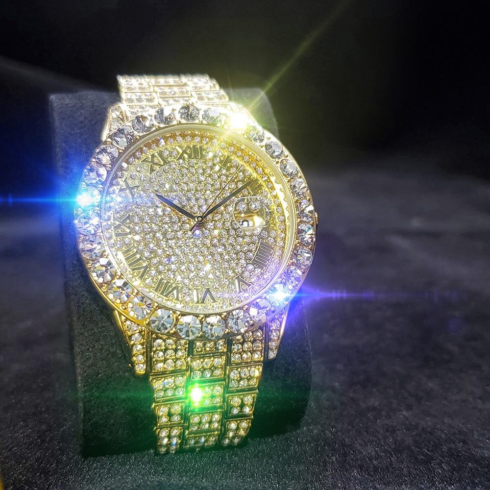 MISSFOX Full Diamond Men's Gold Watches Roman Numerals Dial Round Quartz Watches For Man Blingbling