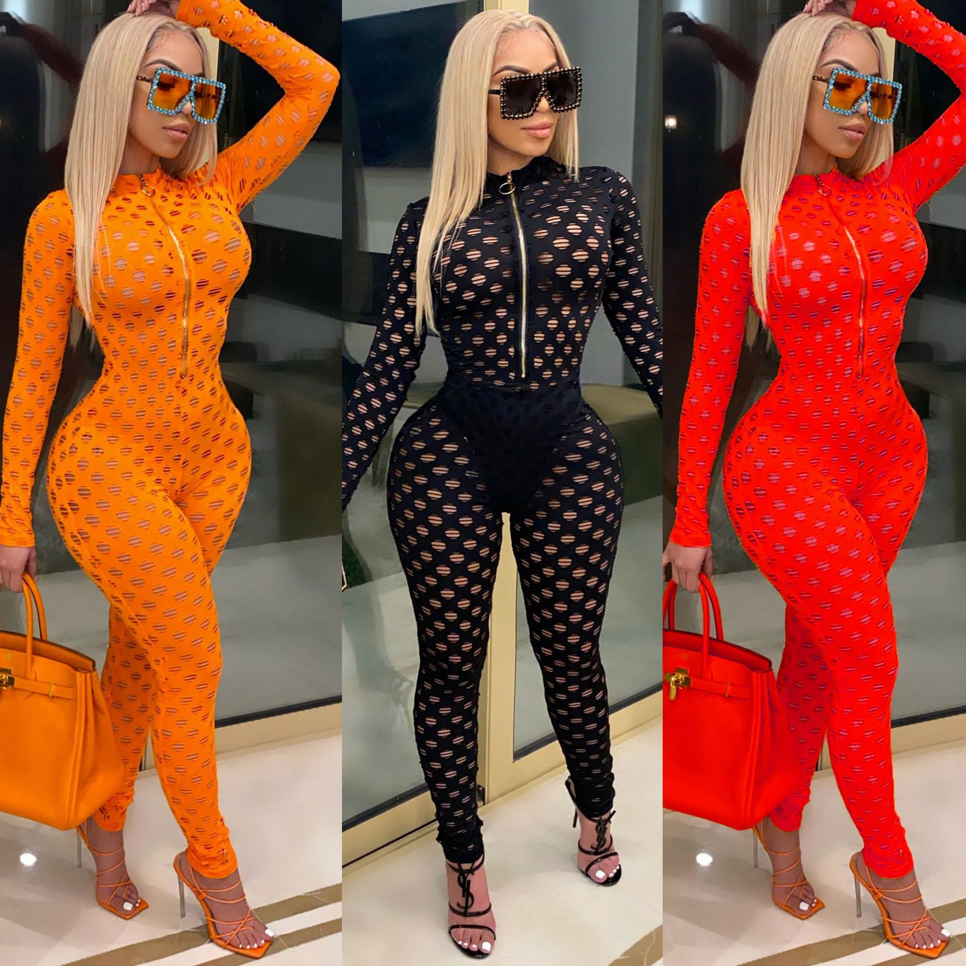 Sexy See Through Hollow Out Fishnet Playsuit Women Fitness Bodycon Club Outfits Party Streetwear Zipper Rompers Overalls Black