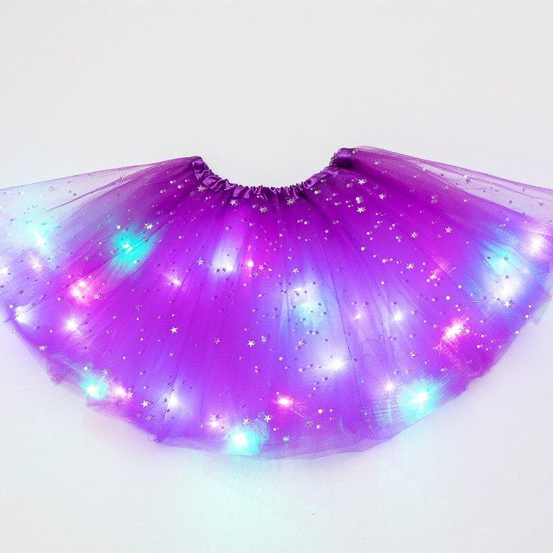 LED Glowing Light Kids Girls Princess Tutu skirts Children Cloth Wedding Party Dancing miniskirt Costume cosplay led clothing