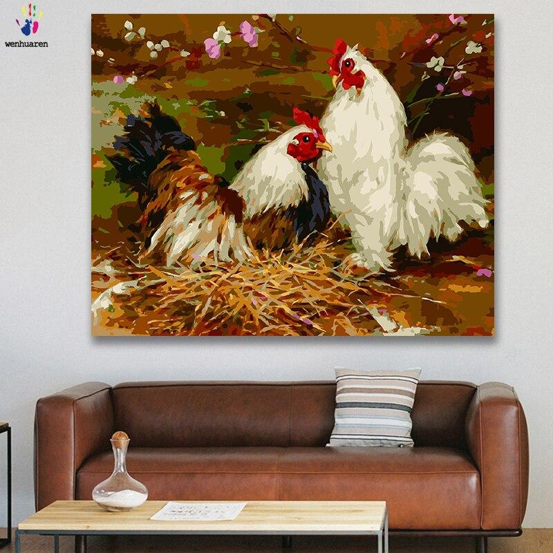 DIY colores imágenes por números con colores granja gran Gallo Zodiaco imagen de gallina dibujo pintura por números enmarcado casa
