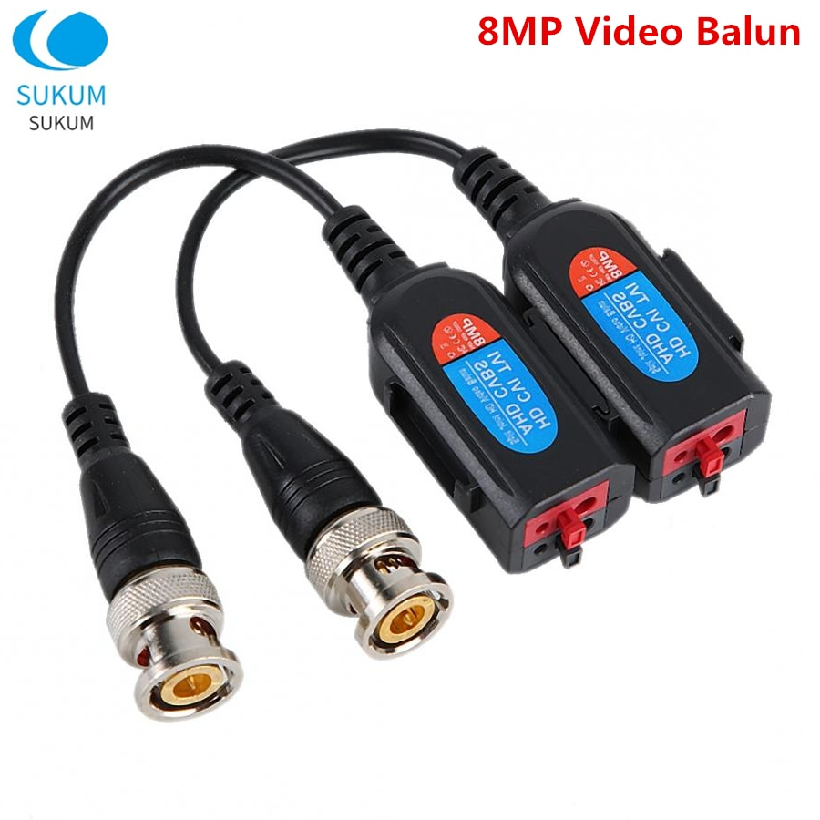10Pairs Transmission Cables 8MP Twisted Spliced Passive Video Balun Transceiver Adapter For HD-CVI/AHD/TVI Camera BNC Connect enlarge