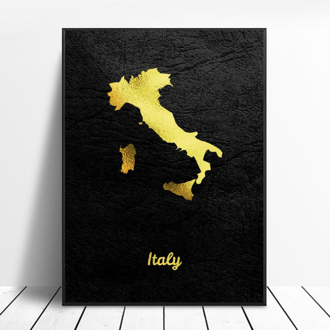 Golden Map Art Italy Canvas Painting Art Print Poster Picture Wall Modern Minimalist Bedroom Living Room Decoration