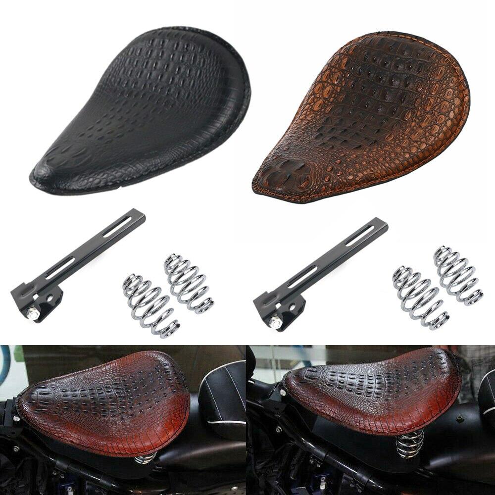 """Asiento de una plaza de cuero de cocodrilo Retro de motocicleta y 3 """"juego de soporte de resorte para Harley Chopper Bobber para Honda para Suzuki"""