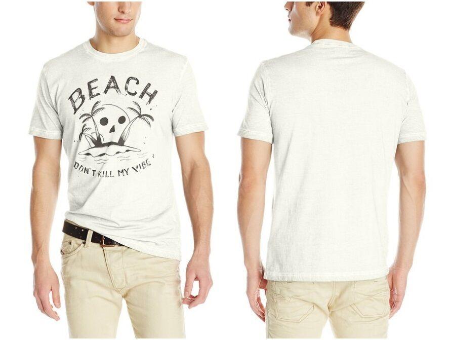 Diesel Men T- Zoi Beach Dont Kill My Vibe Print Vintage Tee T-Shirt Ivory Unisex Size S-3Xl