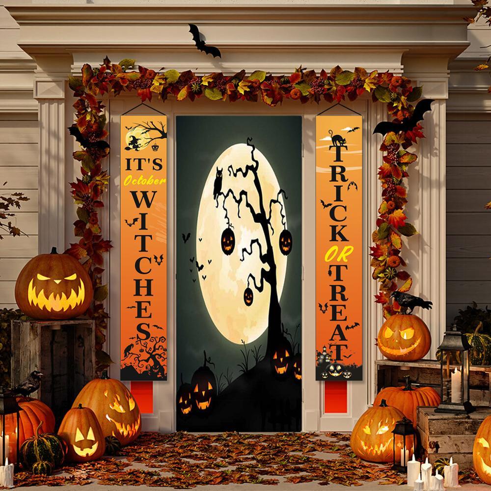 Fengrise halloween porta couplet é outubro bruxas decoração do dia das bruxas para casa truque ou tratar suprimentos de festa de terror