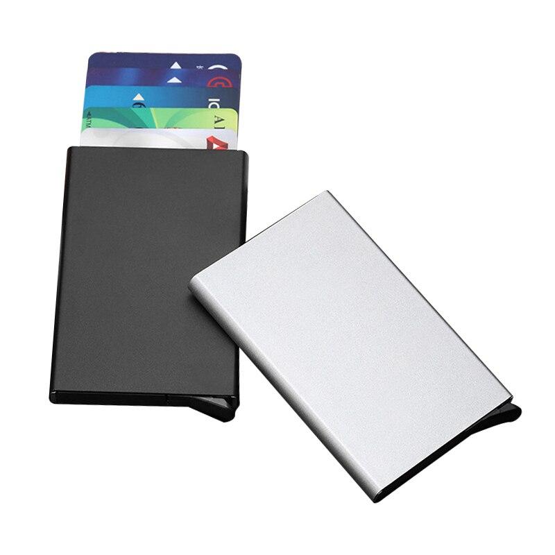 Titular de la tarjeta de crédito Metal metálico de las mujeres de los hombres Slim Anti-robo proteger tarjetero ID Mult-titular de la tarjeta RFID bloqueo billetera