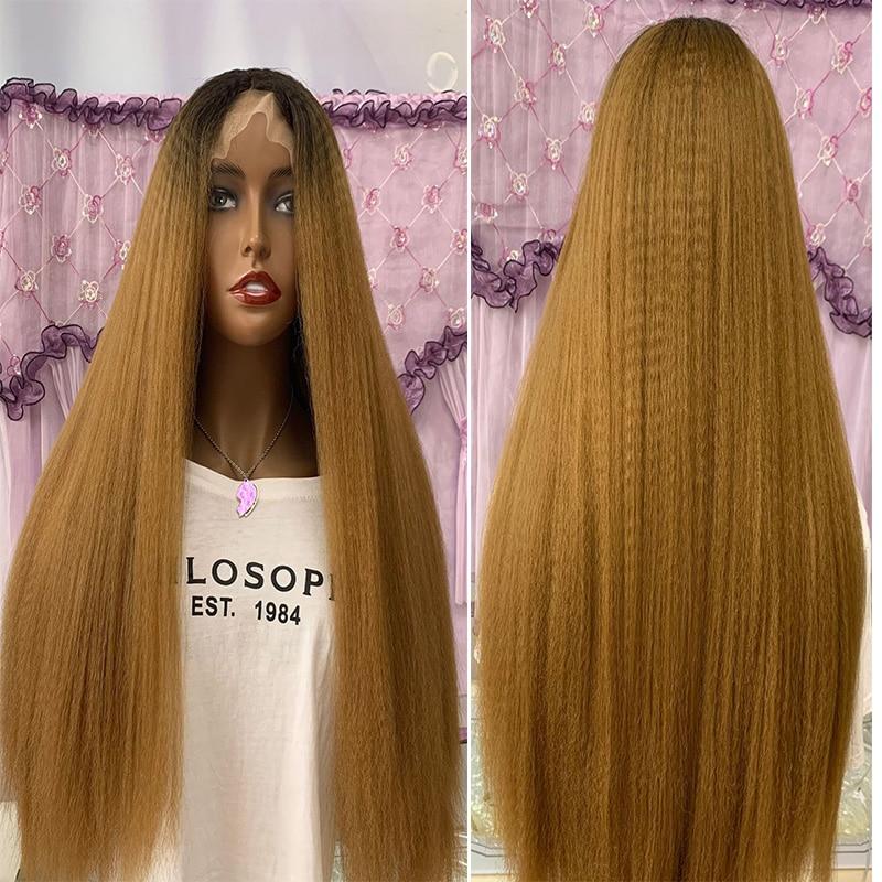 أومبير العسل شقراء ياكي 180% الكثافة 26 بوصة طويلة غريب مستقيم الاصطناعية الجبهة الرباط شعر مستعار للنساء السود Babyhair Preplucked