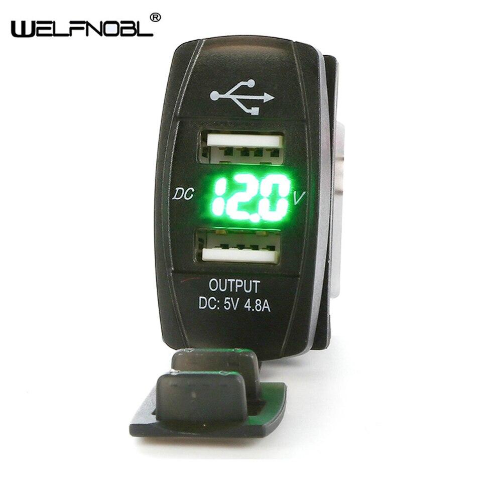 5A быстрое зарядное устройство Mini USB, автомобильное зарядное устройство для планшетов, вольтметр, автомобильное зарядное устройство, двойно...