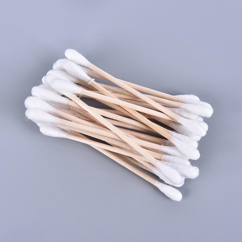 Bastoncillo de algodón de doble cabezal, conjunto de 100, para mujer, brochas de algodón y bambú, Herramienta de mezcla para limpieza de nariz y orejas