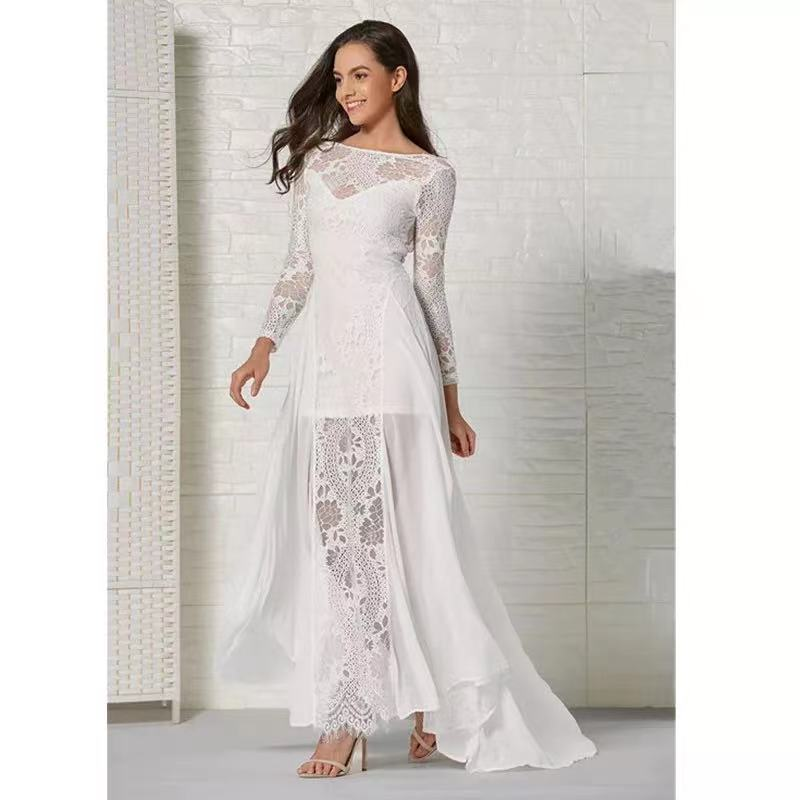 Long Sleeve Beach Bohemain Wedding Dress Illusion Neckline Backless Lace Appliques Flowy Tulle Summer Dresses Bridal Gowns