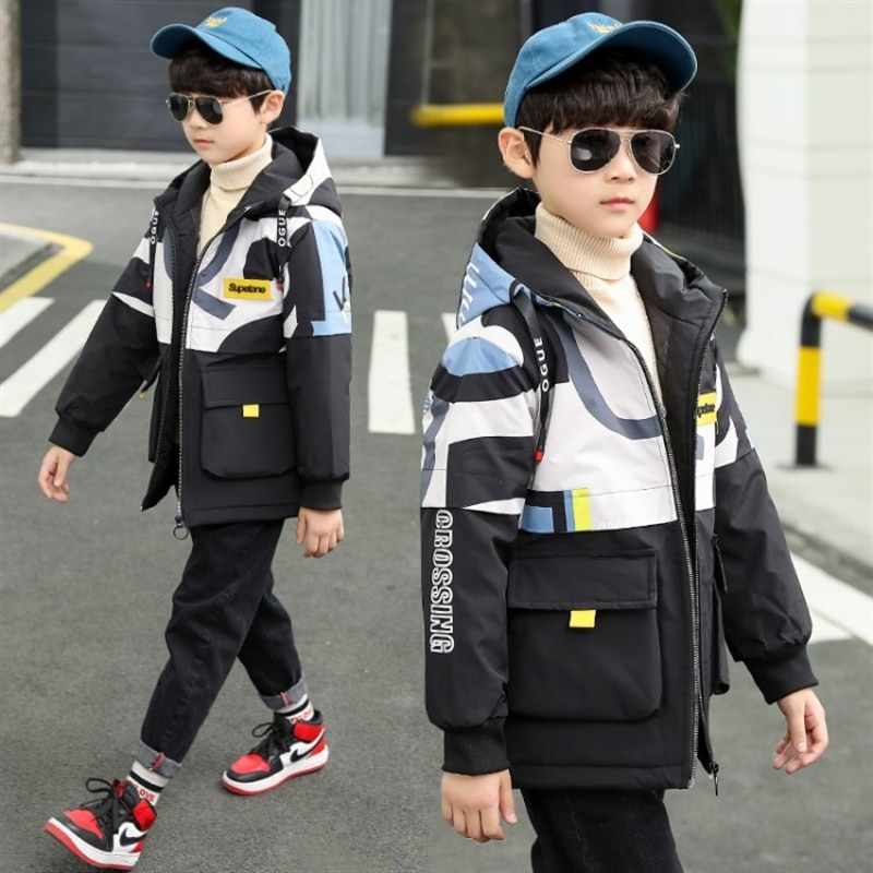 Boys' fleece-lined jacket autumn and winter autumn clothing medium and large children's spring and autumn thickened fashion enlarge