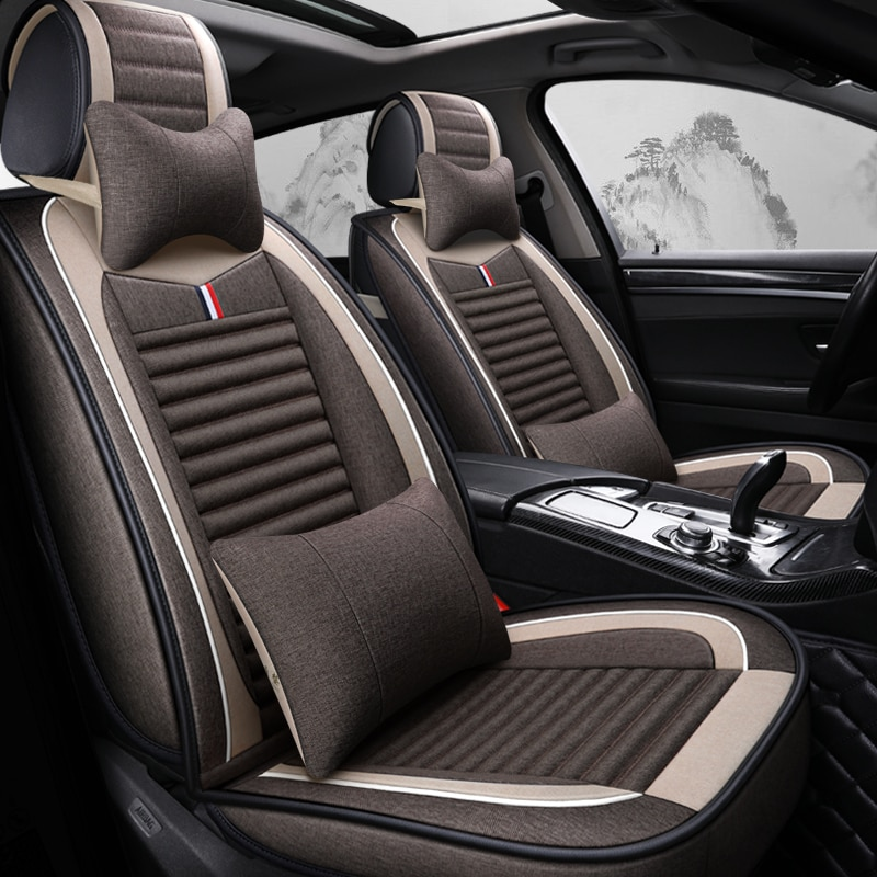 Cobertura completa de fibra de lino funda de asiento de coche fundas de asientos de coche para chevrolet malibu onix optra spin trailblazer trax
