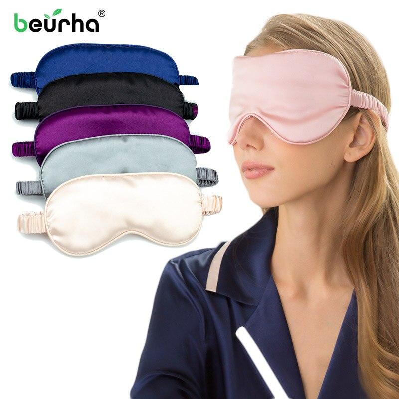 Moda elegante dormir máscara Natural mascarilla para dormir visera cubierta de sombra parche suave portátil 100% 3D seda máscara para el cuidado de ojos
