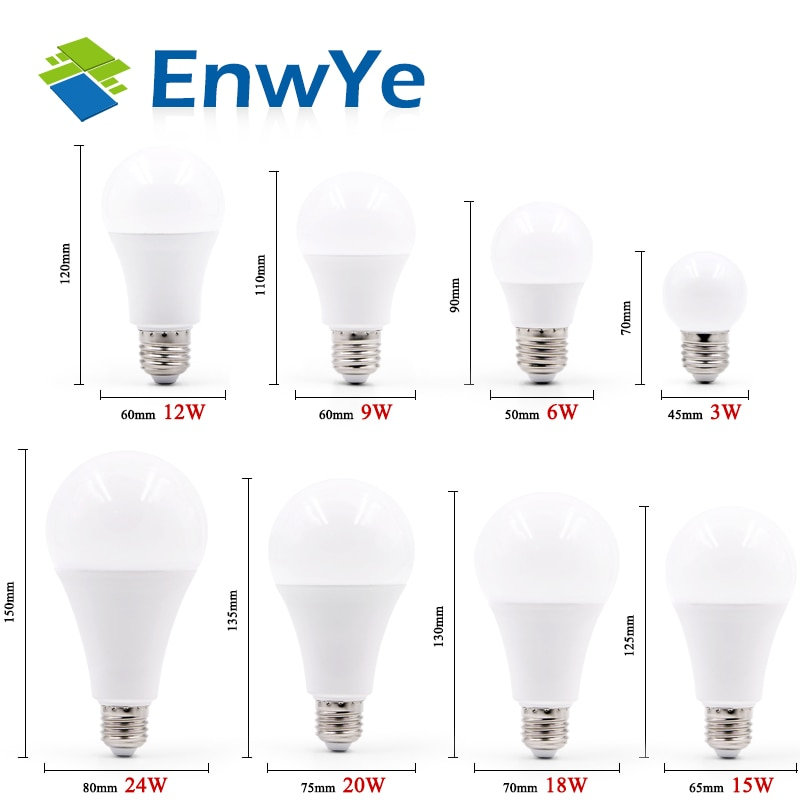 EnwYe LED Light E27 E14 LED Bulb AC 220V 240V 20W 24W 18W 15W 12W 9W 6W 3W Lampada LED Spotlight Tab