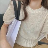 womens new green short sleeve elegant casual silk t shirts summer thin short slim waist bottoming tshirt 2021 female sweet tops