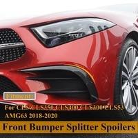 carbon front bumper lip splitter spoiler canards air knife trim for benz cls cls350 cls400 cls300 cls53 amg63 2018 2020
