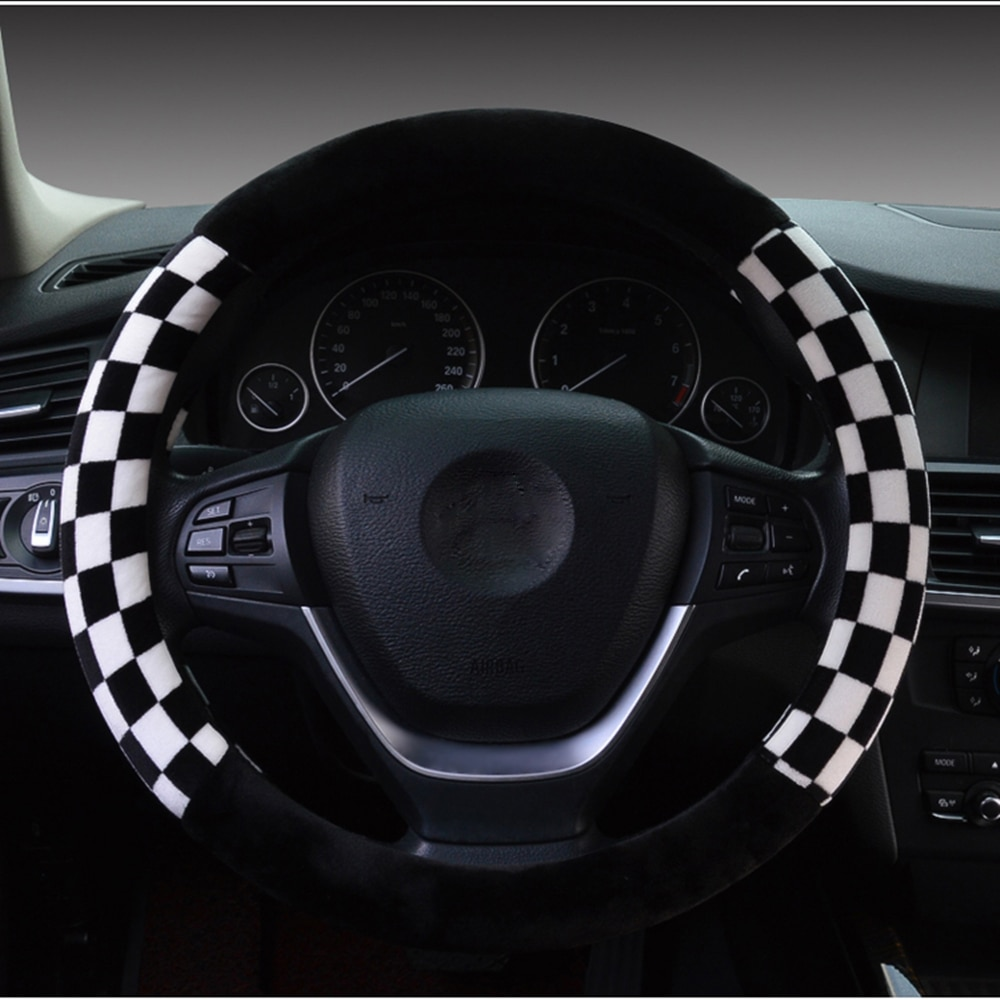 Cubierta de volante de coche Furry NewBrand para LADA FORD KIA 15 pulgadas, volantes antideslizantes y bujes de volante