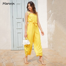 Marwin Simple Dot O-Neck Sleeveless Buttoned With Belt Holiday Street Style High Waist Full Length S