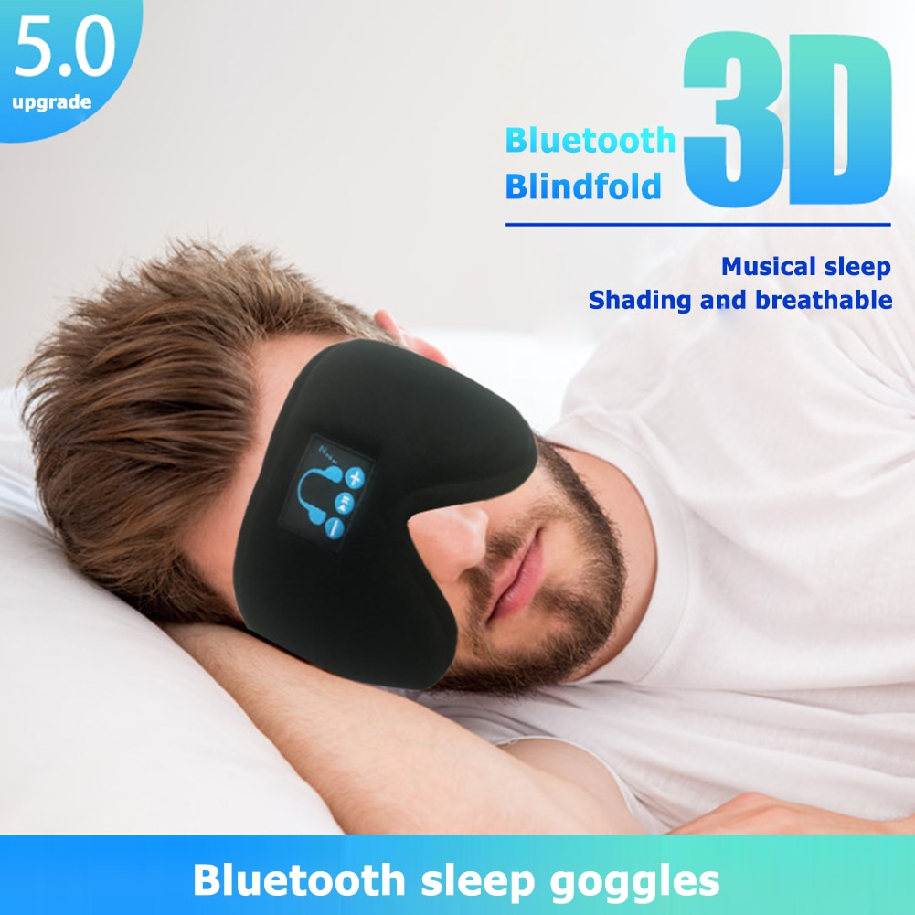 Stereo Wireless Bluetooth V5.0 Sleep Headphones Calling Music 3D Sleep Eye Mask Cover Earphone Night Rest Shade Eyepatch Headset