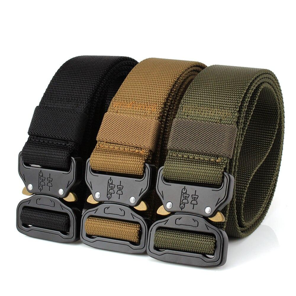 Cinturón táctico de caza Lixada de gran resistencia, cinturón de nailon ajustable, cinturones tácticos militares con hebilla metálica, accesorios de caza