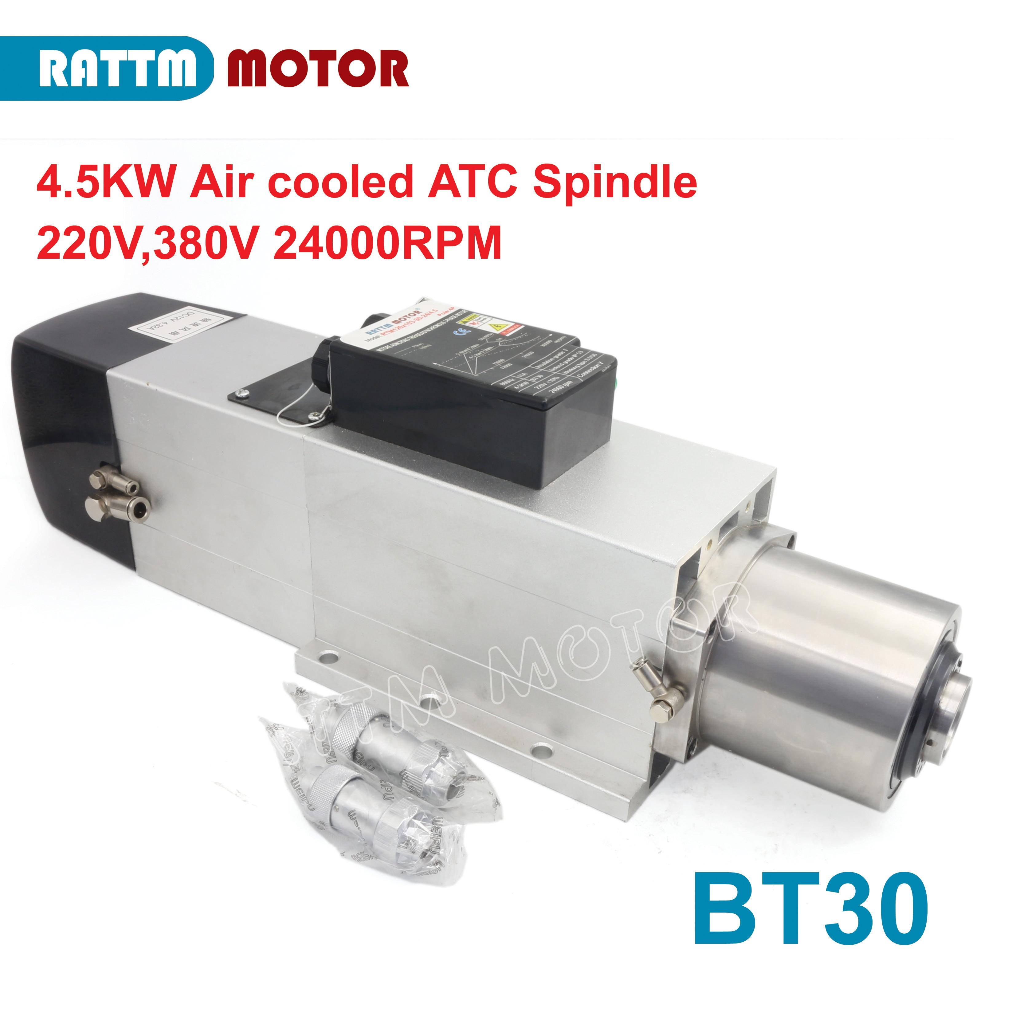 Refrigerado a ar Mudança do Eixo Máquina de Corte de Trituração 220v para Cnc Automático Ferramenta Motor 24000rpm Bt30 380 – Roteador Gravura 4.5kw Atc