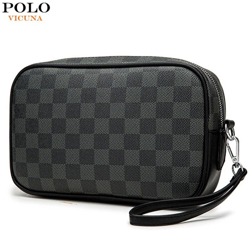 VICUNA POLO Brand Design Mens Clutch Wallet Large Capacity Plaid Design Clutch Handbag With Card Hol