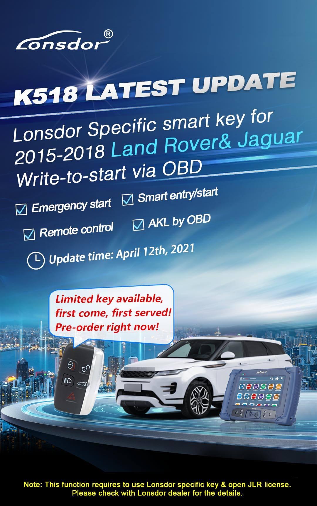 KEYECU Lonsdor Specific Smart Key 5 Buttons 315MHz/433MHz for 2015 2016 2017 2018 Land Rover Jaguar Word for Lonsdor K518