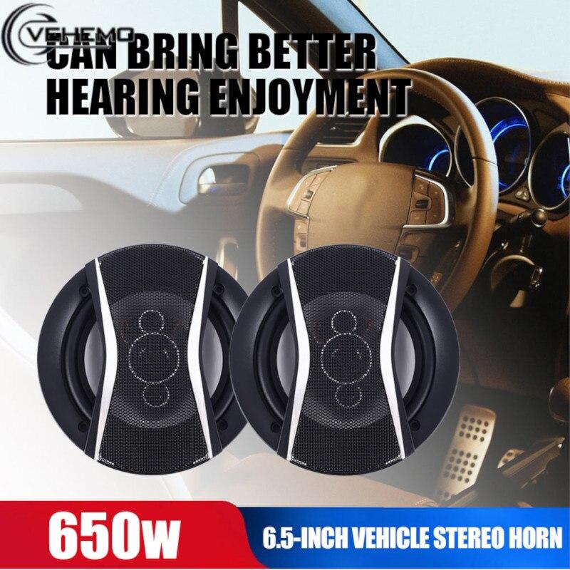 Vehemo Stereo 650W Auto Audio Coaxial Speaker 6 Inches 2PCS Music HiFi 35-22000Hz 4 Way Car Full Range Frequency Door