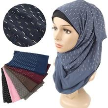 180*75cm solide en mousseline de soie musulman hijab foulard femme musulman turban châles et enveloppes malaisienne dame hijab écharpe avec diamant