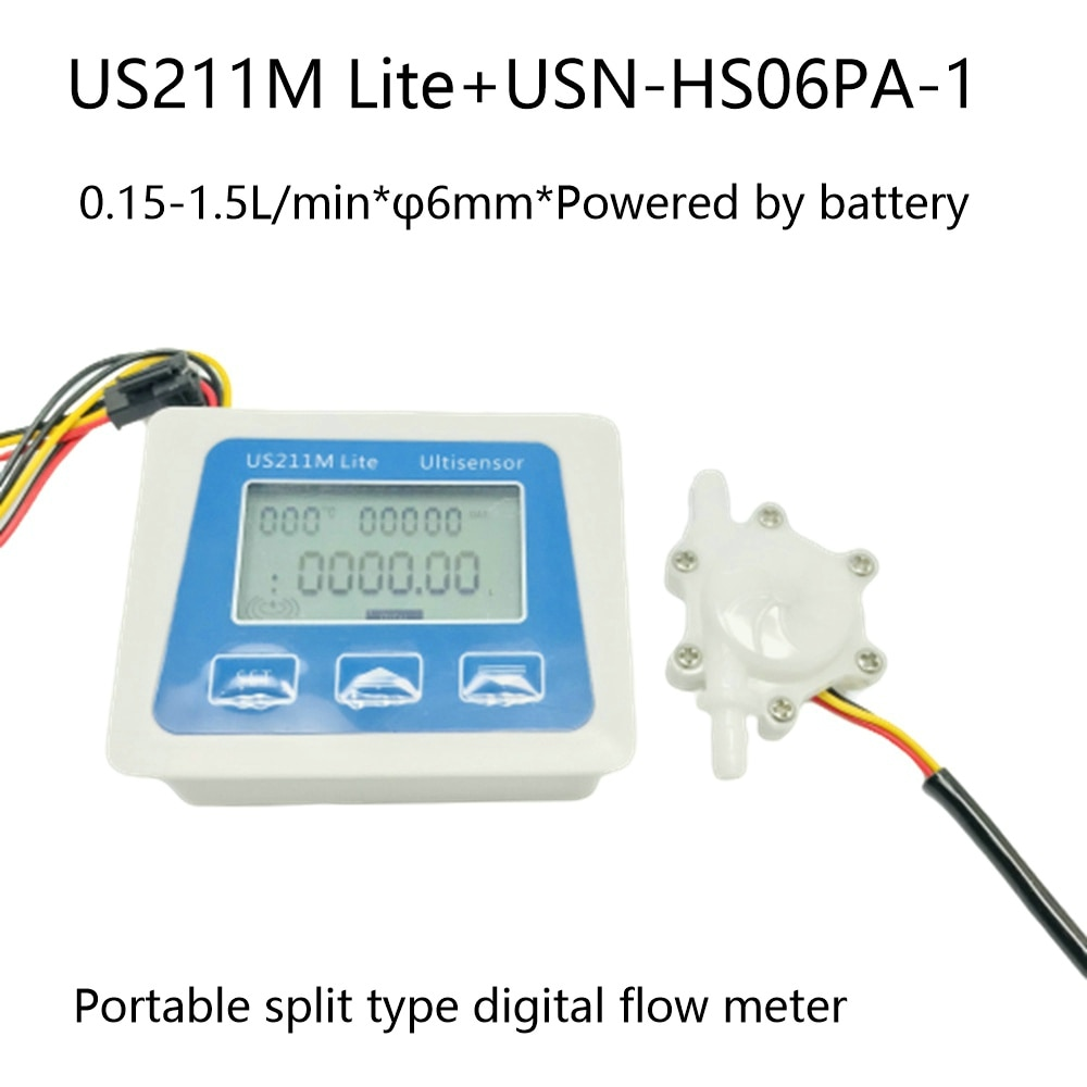 Medidor de flujo Digital portátil con USN-HS06PA 6mm OD espiga para manguera US211M Lite