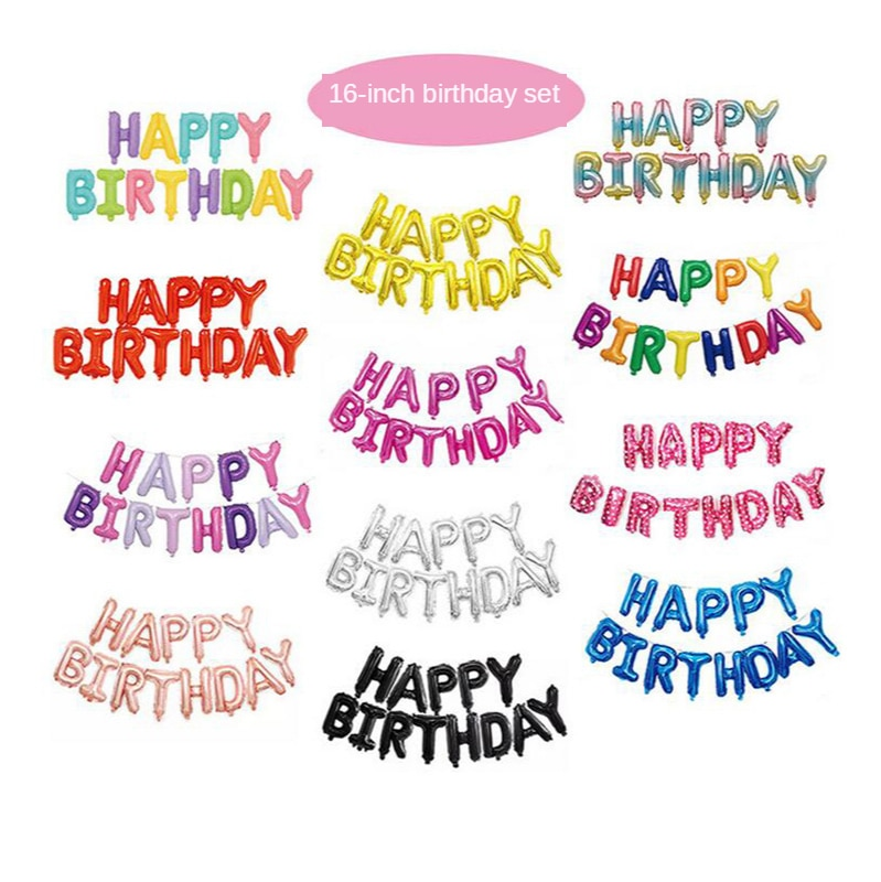 13Pcs/set 16inch Happy Birthday Balloons Foil Letter Balloon Kids Adult Ballons Party Decoration Alphabet Gift