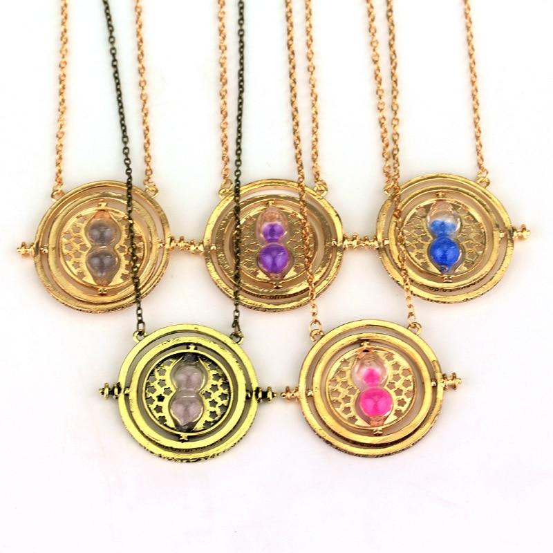 Collar con colgante de Hogwart de herradura, colgante con forma de reloj de arena en 6 colores, collares de Horcrux, regalo de joyería para mujeres y hombres