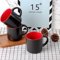 500ml simple coffee milk ceramic tea cup with handle black compact student home office breakfast cup gift