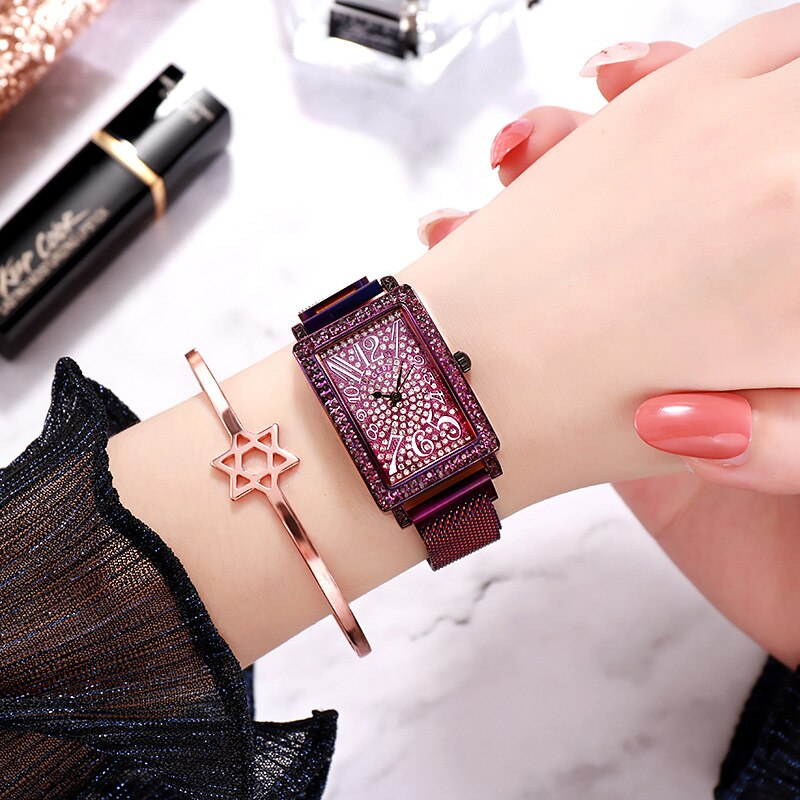 2020 Newwomen Watches Stars Dial Diamond Square Quartz Wristwatch Mesh Belt Waterproof Fashion Luxury Brand Reloj Mujer Gifts enlarge