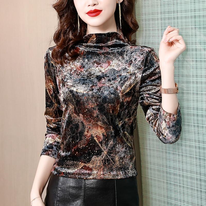 Autumn Winter High Neck Undershirt Pullover Blusas Mujer De Moda 2021 New Fashion Vintage Blouse Shirt Tops