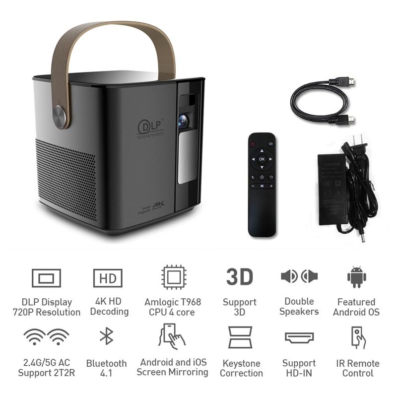 P12 mini android 4 k projetor 3d 1080 p completo hd projetor 2g + 16 gb telefone sem fio 5g wifi bluetooth 2000 mah dlp projetor 180 ansi
