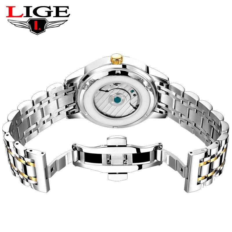Lige para Homens Relógios de Moda Negócio à Prova Automático dos Homens Jovens Marca Superior Luxo Dwaterproof Água Relógio Mecânico Aço Completo Militar