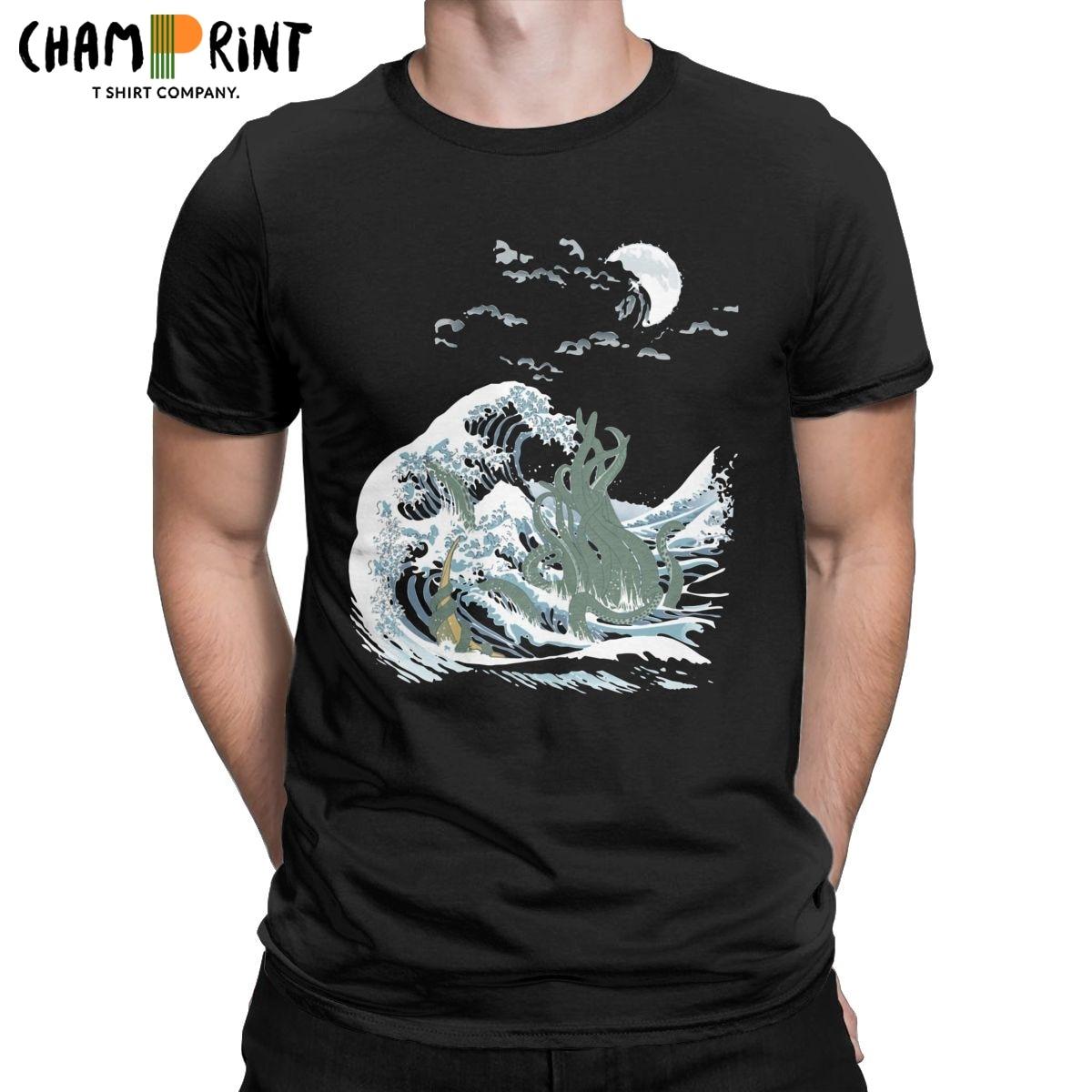 Camisetas de manga corta para hombre, camisa informal de algodón, Kanagawa, Call...