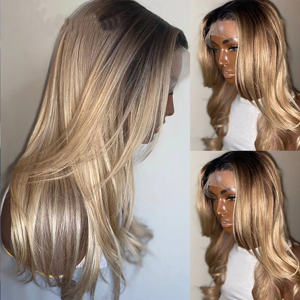 Ombre 4T613 Honey Blonde Realistic Straight Copper Orange Red Pink Blonde Yellow High Temperature Fiber Synthetic Lace Front Wig
