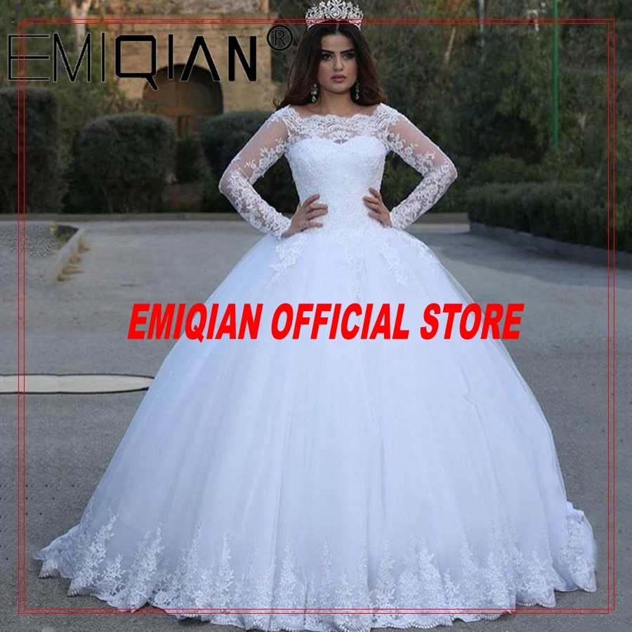 Review White Vintage Lace Appliques Long Sleeves Cheap Wedding Dresses Ball Gown Wedding Gowns Bridal Dress robe de soiree