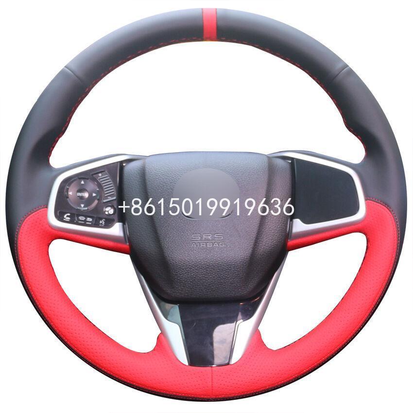 Hand-genäht Schwarz Rot Leder Auto Lenkrad Abdeckung für Honda Civic
