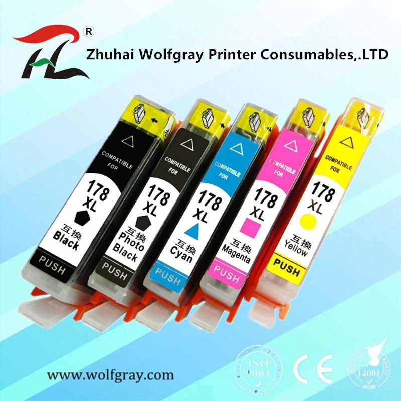 YI LE CAI 5PK compatible Ink Cartridge for HP 178 for HP178 178XL Photosmart 5510 5515 6510 7510 B109a B109n B110a Printer