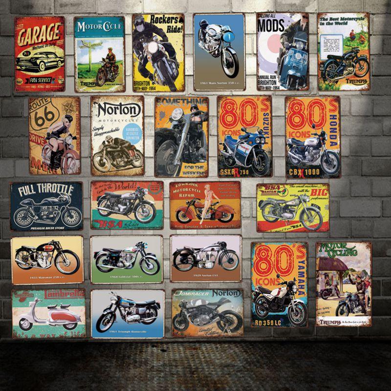 [DecorMan] мотоциклы Garage BSA сексуальная леди вывеска на стену на заказ плакат Route 66 Металлические Картины Бар Декор LT-1799