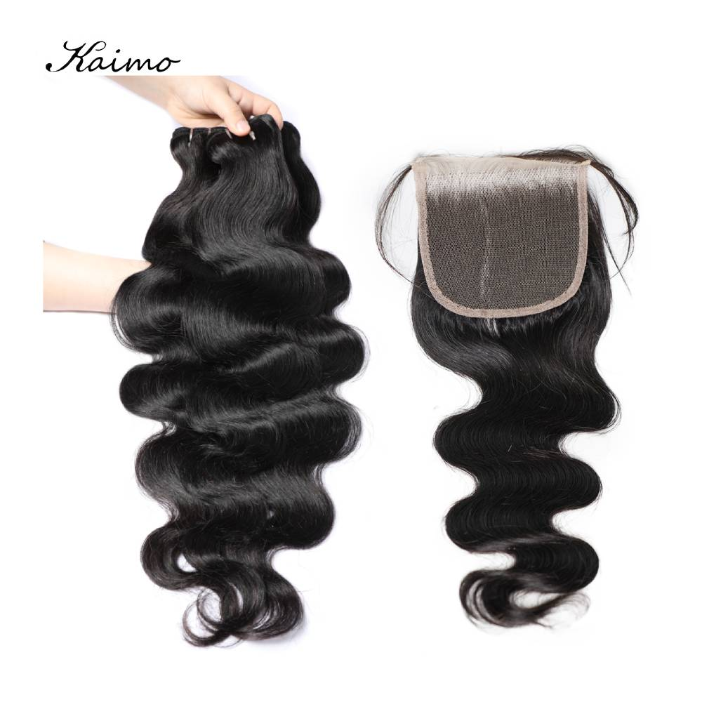 Body Wave Human Hair Bundles With Lace Closure 4x4 for Black Women Peruvian Wavy Hair Extensions Non Remy Hair 4/5 Pcs