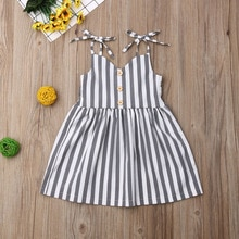 Baby Summer 1-6Y Infant Kid Baby Girl Cute Striped Dress Sleeveless Bowknot Shoulder Straps Belt But