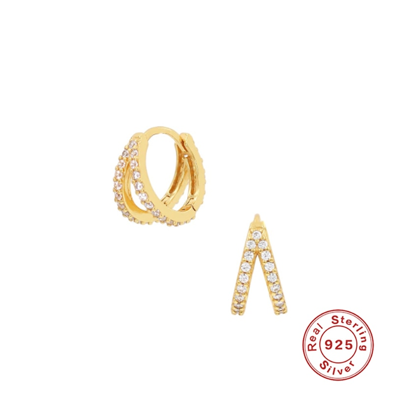 Silver 925 Jewelry Earrings For Women Double Row Drill Hoop Earrings Stainless Steal Gold/Silver Jewelry 2021 Trend Gift Серьги