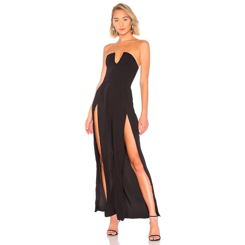Elegant high quality sexy women 2020 black red strapless off shoulder sleeveless bodycon bandage jumpsuits Wholesale