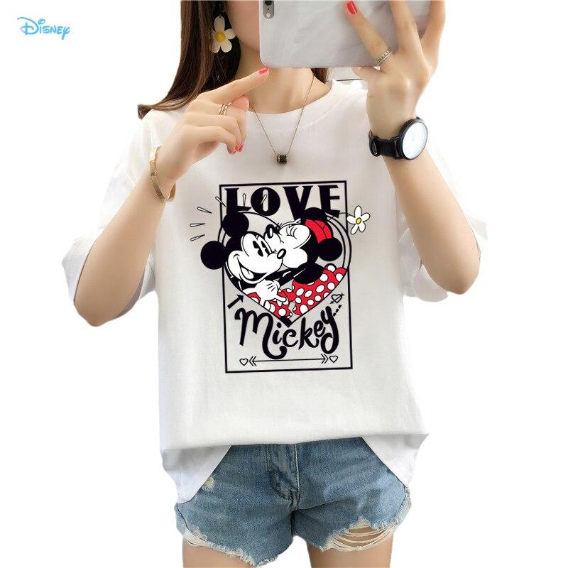 Las mujeres divertidas par T camisa verano Top 2021 Mickey Minnie Mouse...