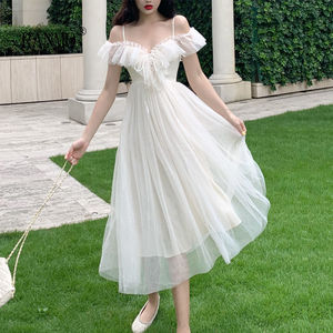 Summer Fairy Dress Women French Style Lace Chiffon Elegant Dress Casual Loose Sexy Chic Party Dress Women 2020 New Arrivals